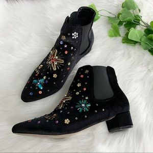 Betsy Johnson | Jax Ankle Black Beaded Bootie Boot